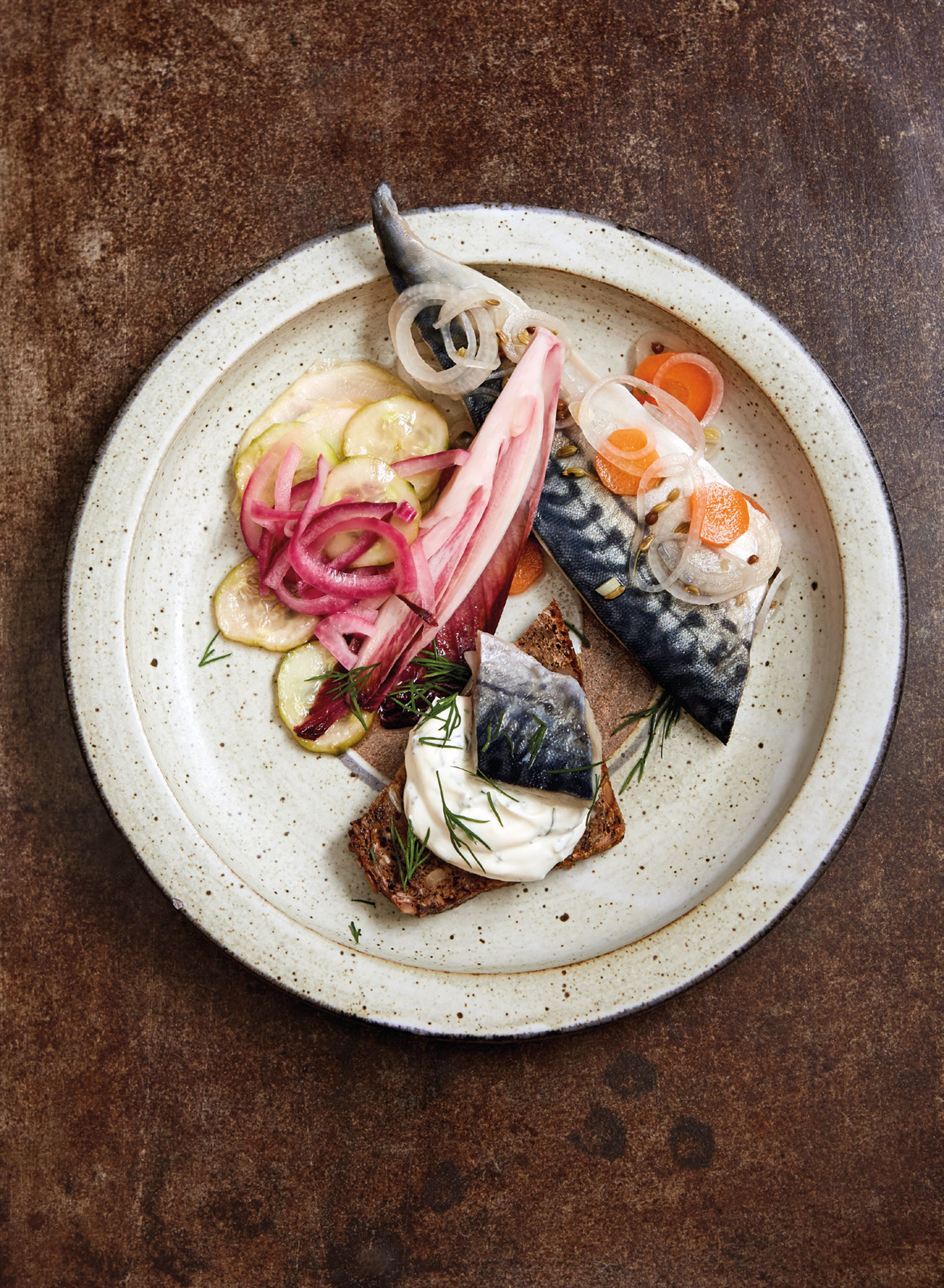 Quick soused mackerel with bread-and-butter pickles