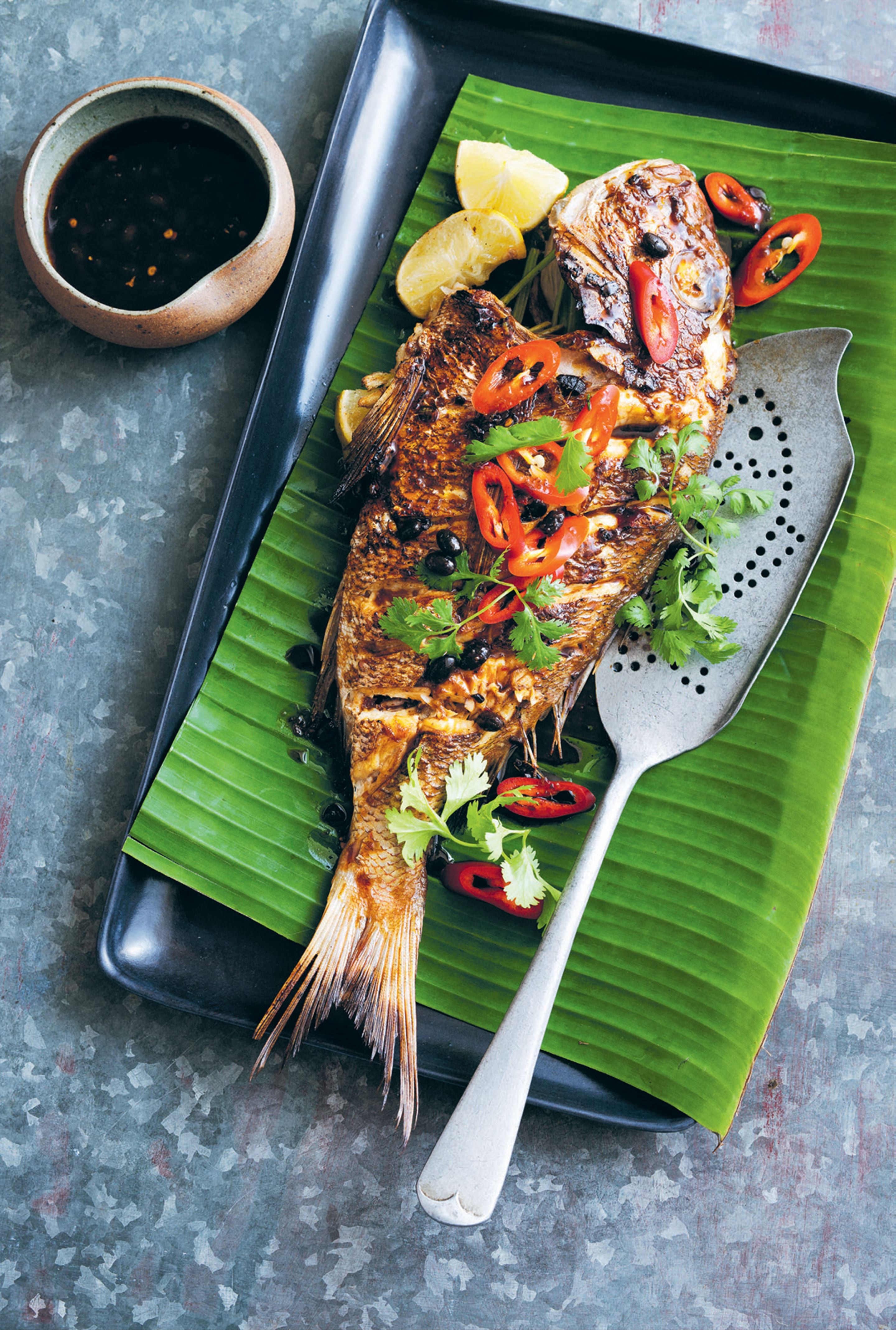 Roasted baby snapper with yellow bean soy dressing