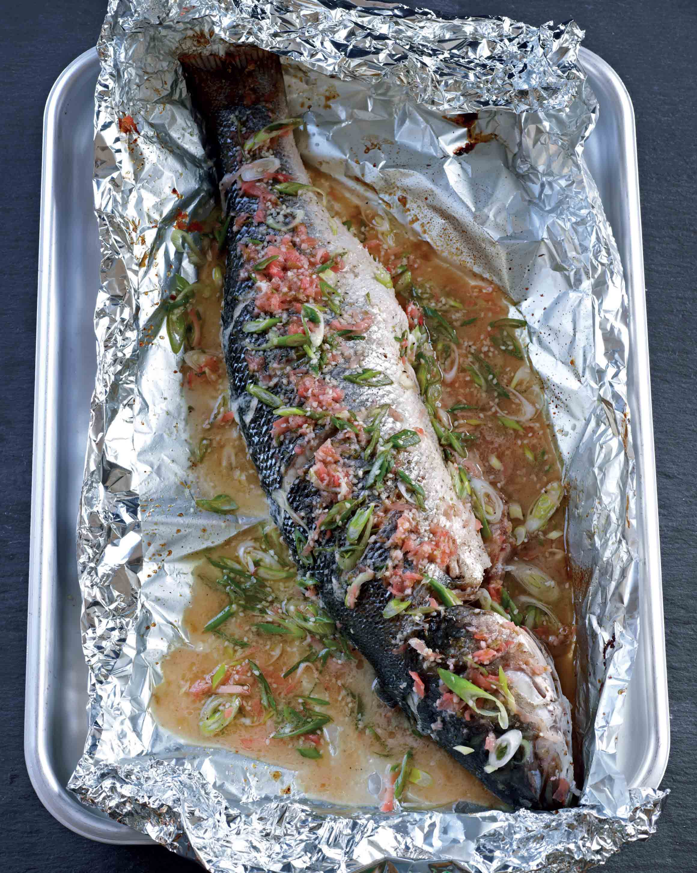 Honey baked sea bass with pickled ginger
