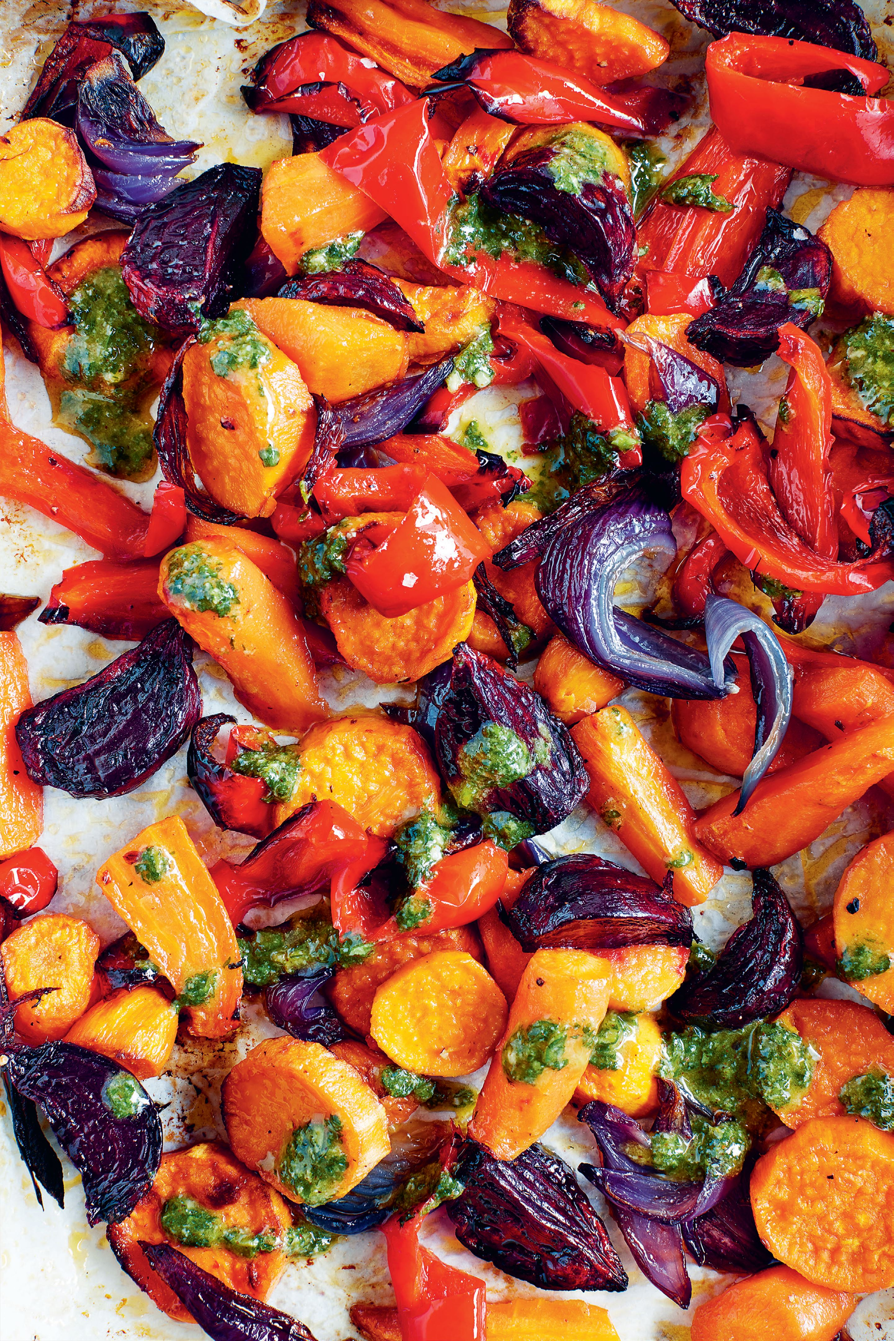 Roasted veg with nut butter pesto