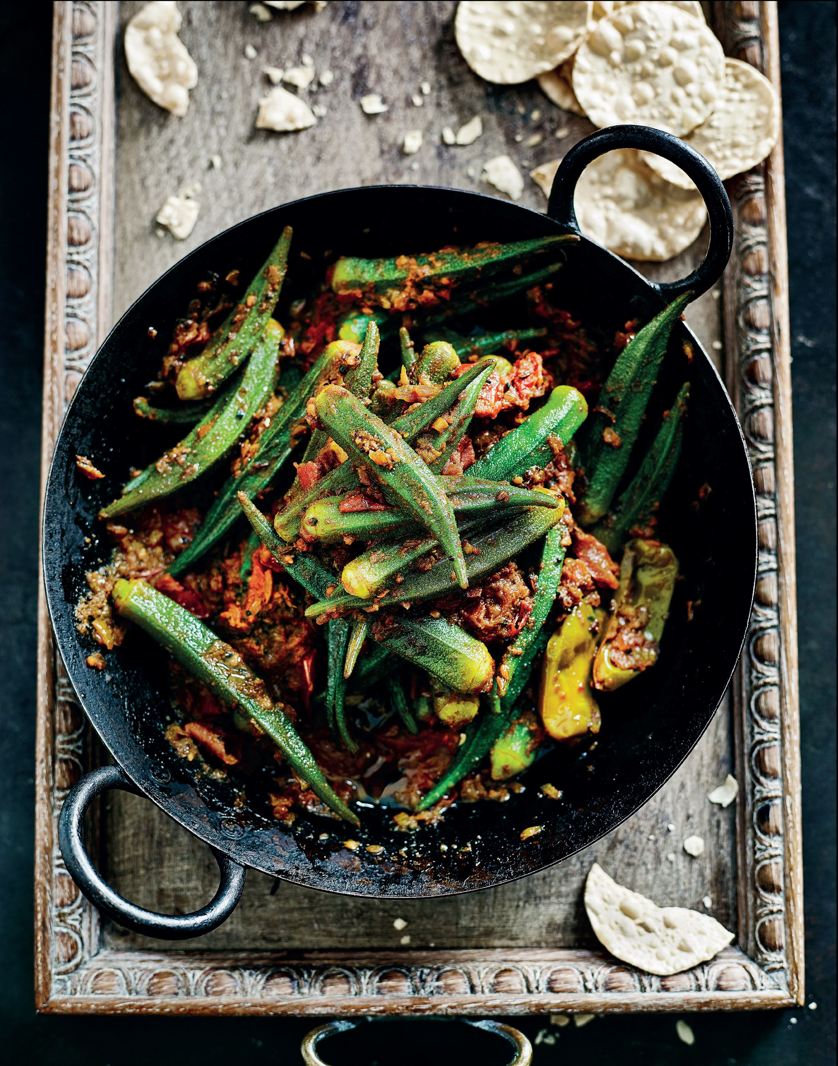 Four seed-spiced okra with tomatoes