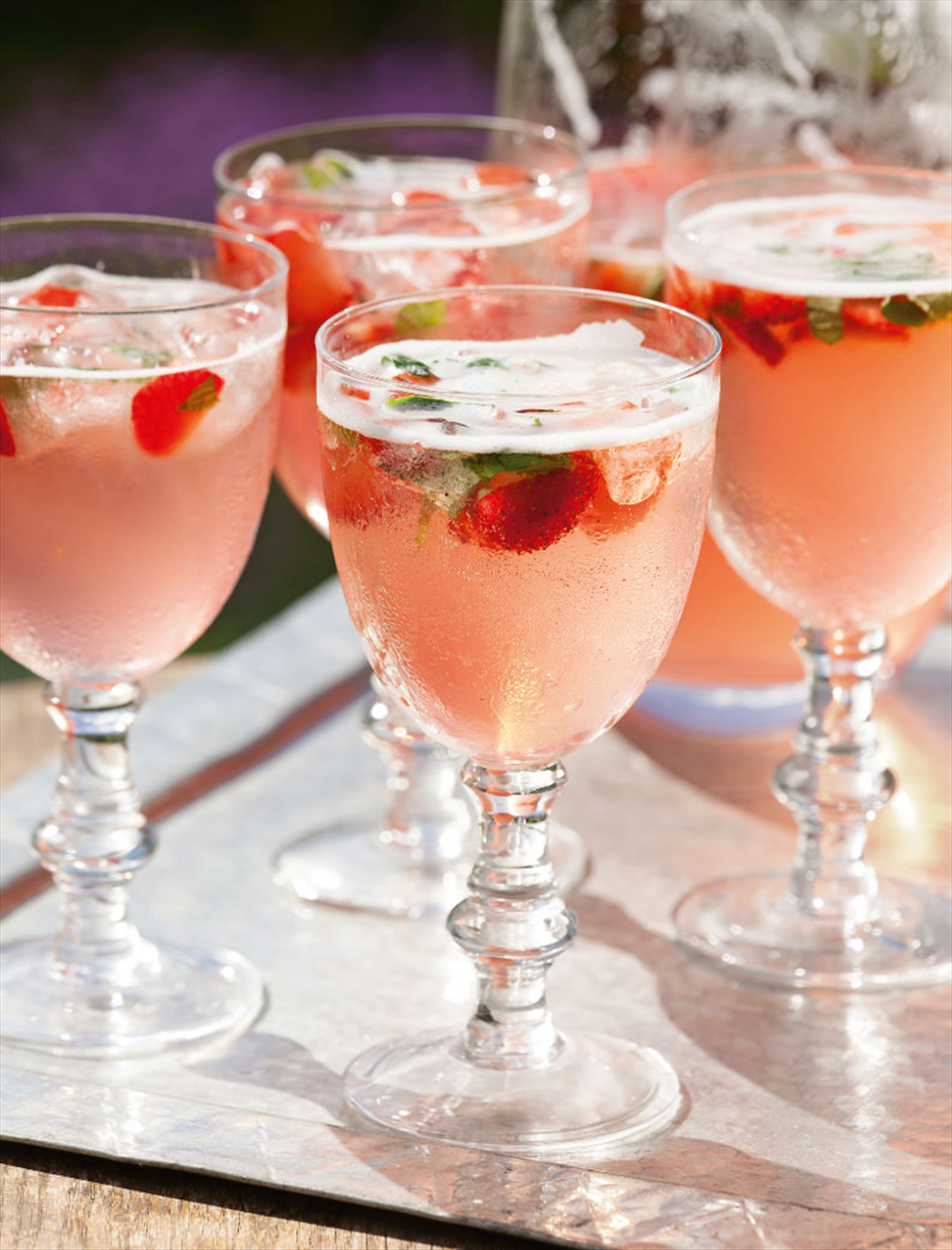 Rhubarb and strawberry cordial