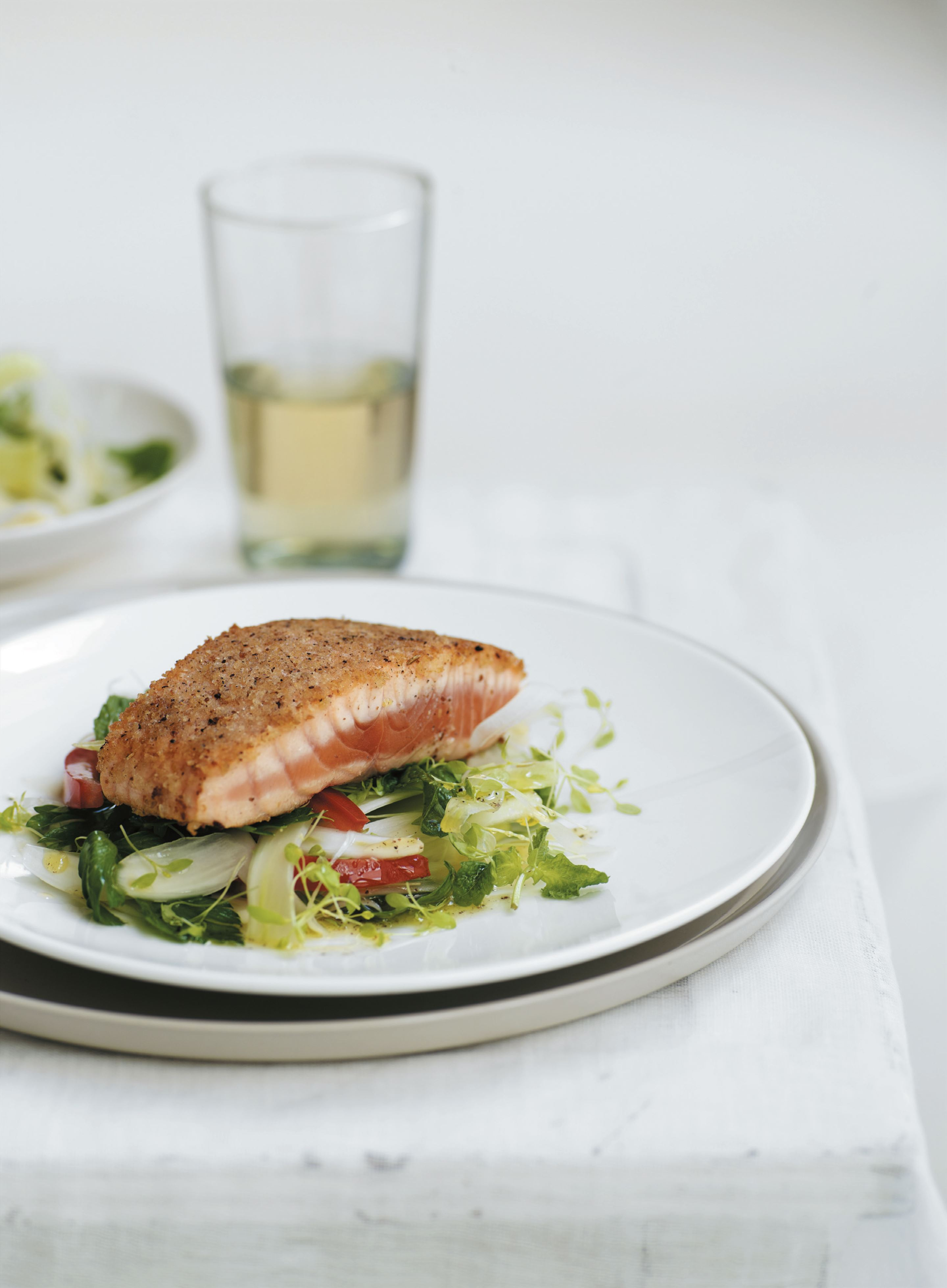 Salmon grilled with sumac and fennel crumbs