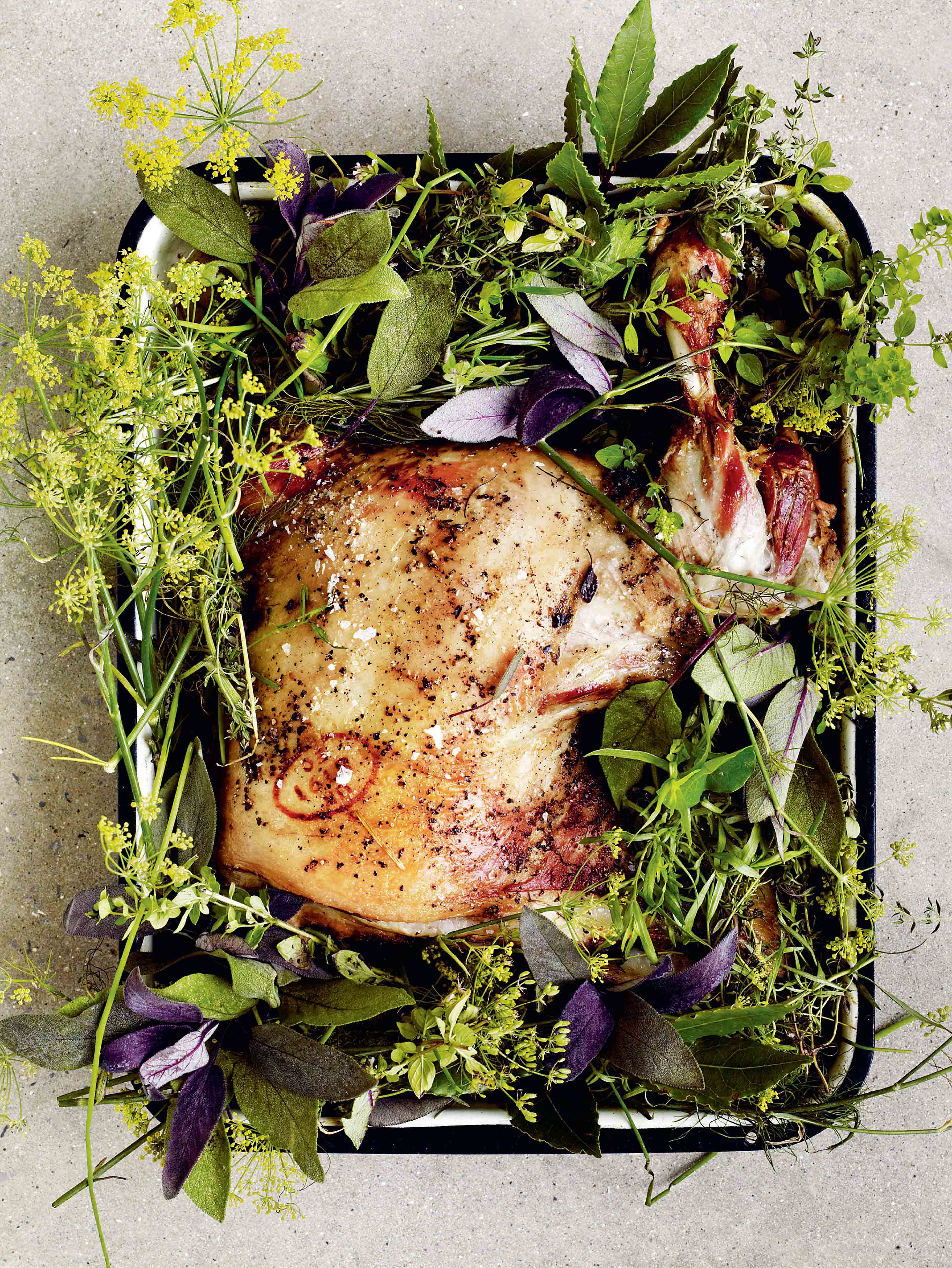 Slow-roast mutton shoulder with garden herbs