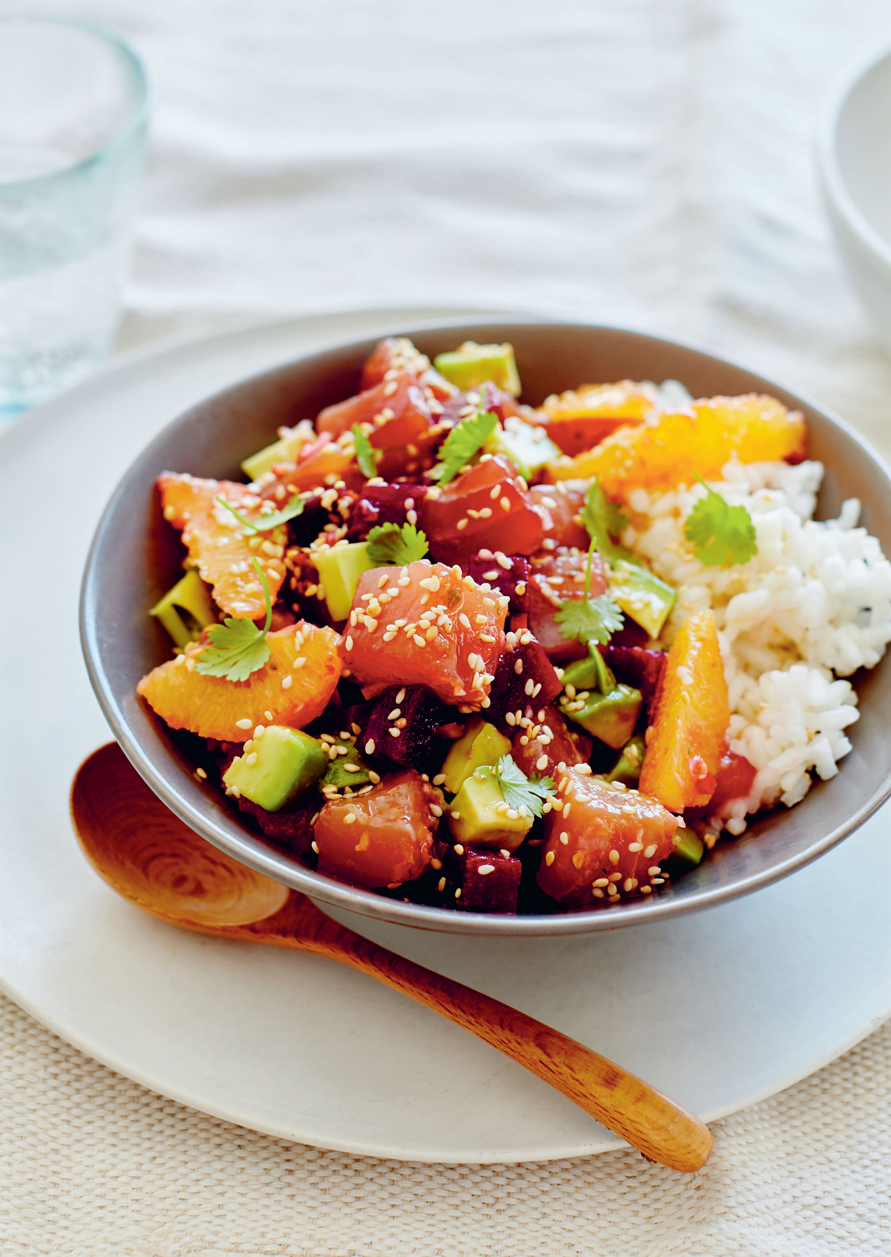 Tuna, orange and beetroot poke