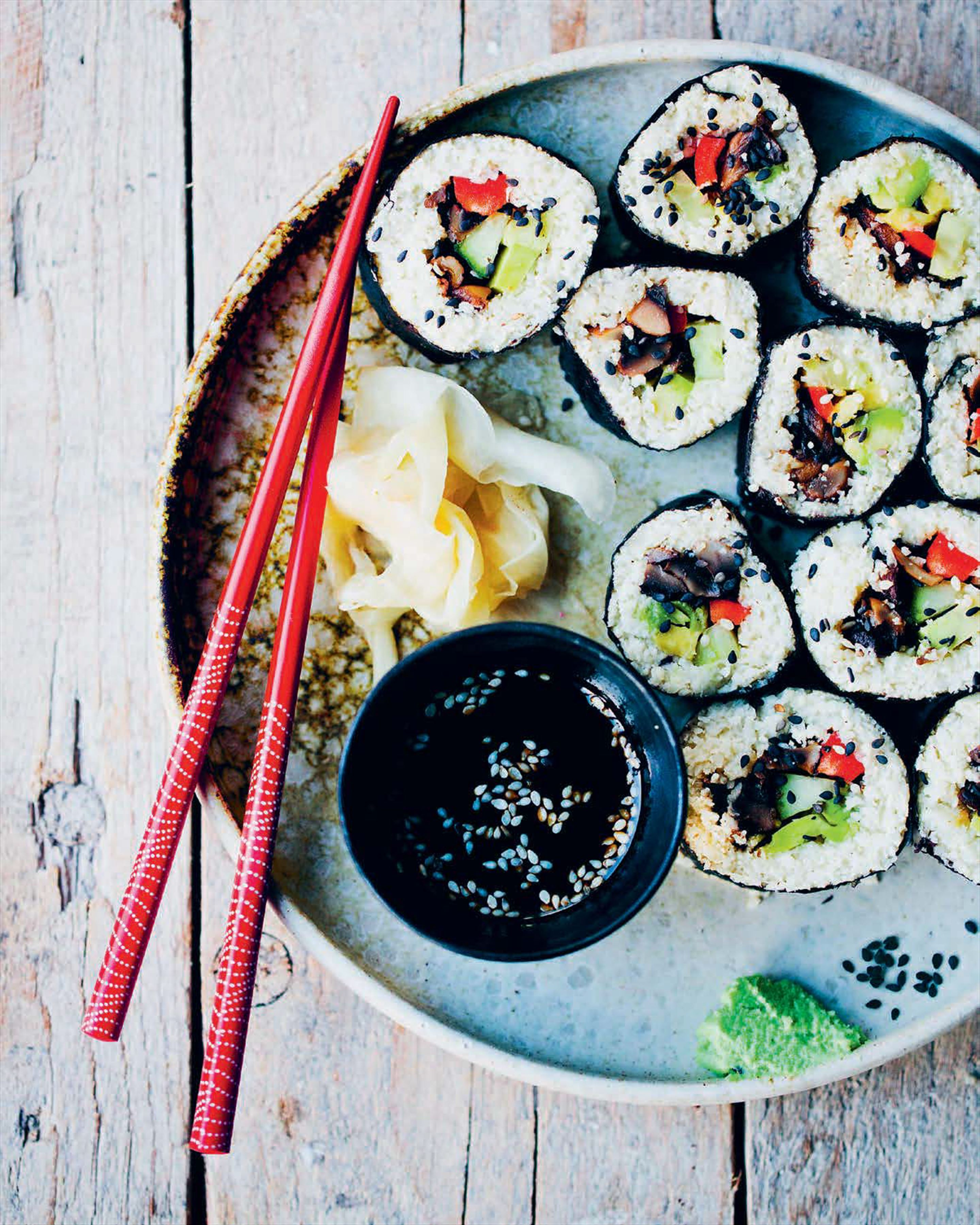 Mushroom and cauliflower 'rice' sushi rolls